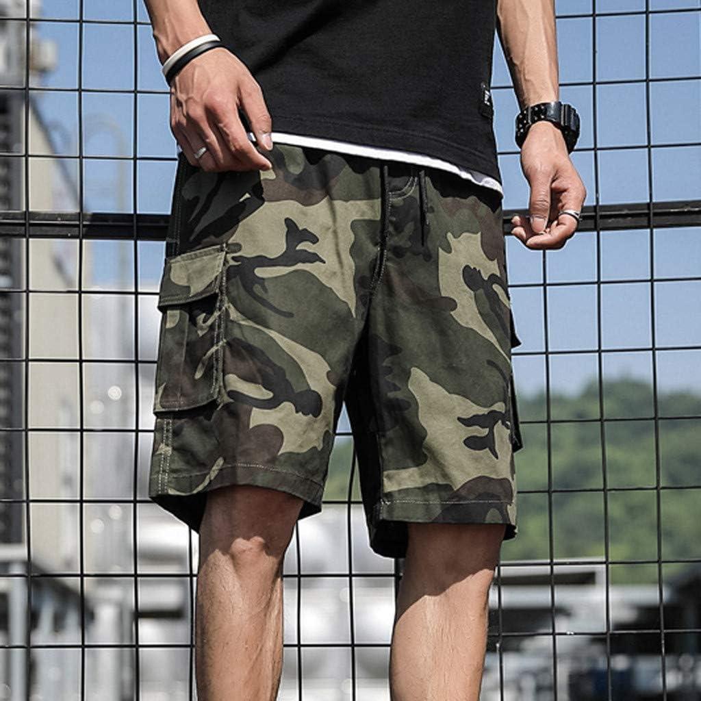 Shorts for Men F/_Gotal Men/'s Plus Size Casual Patchwork Overall Drawstring Elastic Waist Sports Pants Shorts Sweatpants