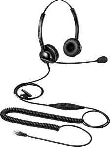 Telephone Headset for Offices Call Center RJ9 Headset with Microphone Noise Cancelling Mic Mute and Volume Control for Avaya Plantronics Polycom Siemens Snom Toshiba Nortel Alcatel