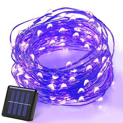 100 Blue Solar Powered Led Outdoor String Fairy Lights - 9