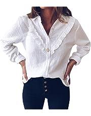 Sweatshirt Damen Kolylong® Frauen Elegant Polka Punkt Lange Ärmel Blusen Vintage Spitzenbluse Rüschen Langarm Oberteil Weißes Tunika Basic Shirt Hemd T-Shirt Pullover Tops