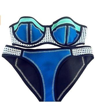 3ce13b0c0bcfa OYMMENEY Strand Neopren Damen Bandeau Bikini Push Up Set Badeanzug ...