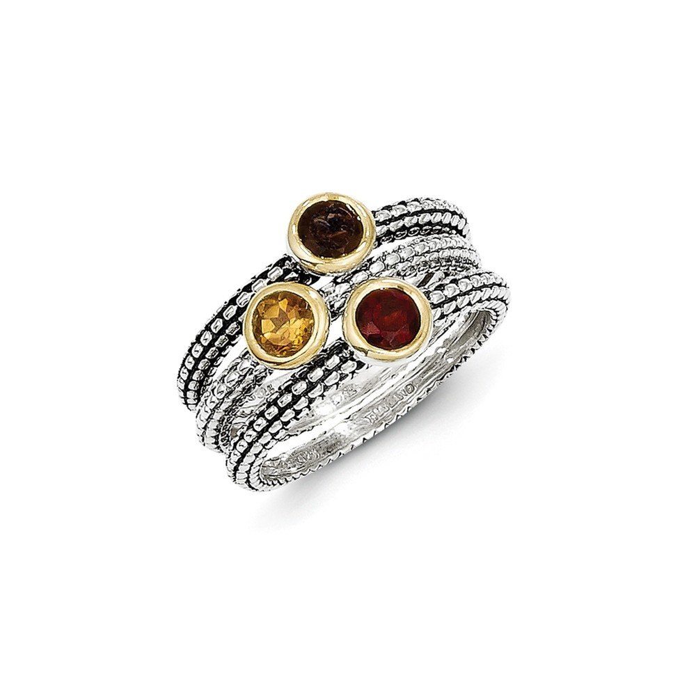 Roy Rose Jewelry Sterling Silver Gold-overlay Accent Garnet/Citrine/Smoky Quartz 3 Stackable Rings Size 6