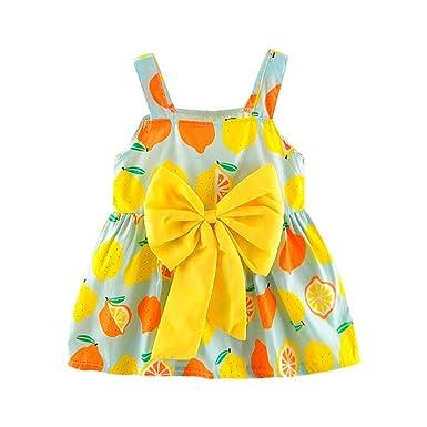 fface6b1a6 Iuhan Newborn Toddler Baby Girls Cutely Lemon Print Strap Princess Party  Casual Dress Clothes (0