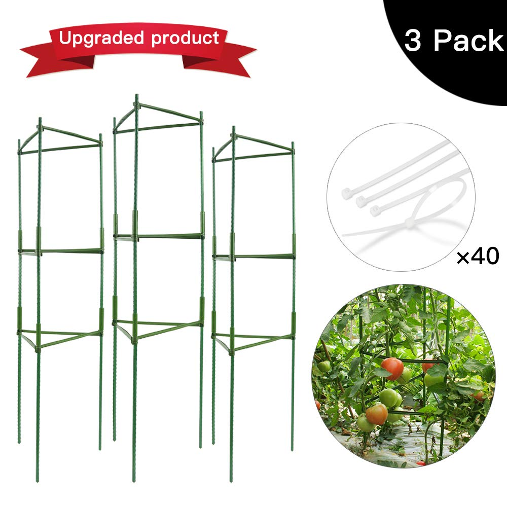 IPSXP Vegetable Trellis, Garden Plant Support Cages Stakes for Climbing Plants, Vegetables, Flowers, Fruits, Vine, 3 Garden Trellis with 40 Adjustable Cable Tie