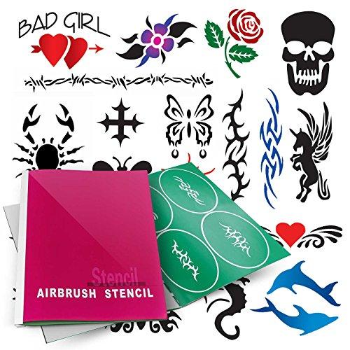 (PointZero Temporary Tattoo Airbrush Stencils 20 Designs - Mini-Book A )