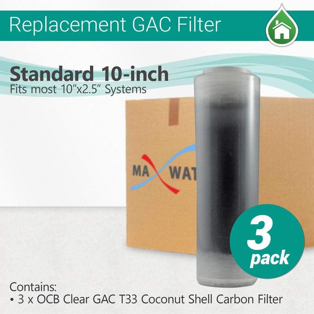 "GAC T33 Coconut Shell Carbon Filter size 10/""x2.5/"" MWF 3 Pcs OCB Clear Filter"