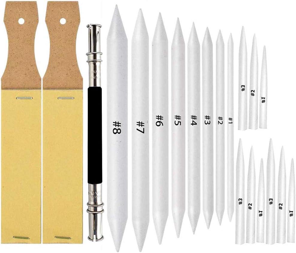 17 Pcs Blending Stumps and Tortillions Art Blender Set with 2 Pcs Sandpaper Pencil Sharpener Pointer for Student Sketch Drawing Tools by MOUBANE
