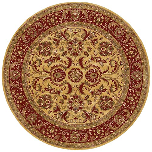 - Surya Ancient Treasures Gold and Red Round: 8 Ft. Rug