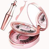 Magnetic Eyelashes Natural Eyelash Kit with Eyeliner Natural Eyelash Kit Liner Applicator Tool Set Eyelash Gorgeous Waterproof 5 Magnet Inbald Black 6pcs Prime Length Handmade 3D Aroma (2 Pairs)
