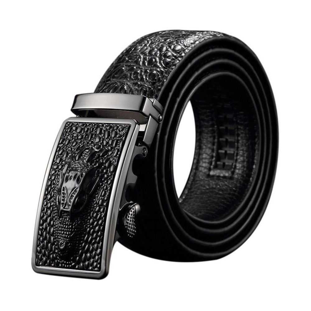 132a3586 Black Friday Deals Cyber Monday Deals Week-Men Genuine Leather Belt  Crocodile design Automatic Buckle (Black-a): Amazon.co.uk: Clothing