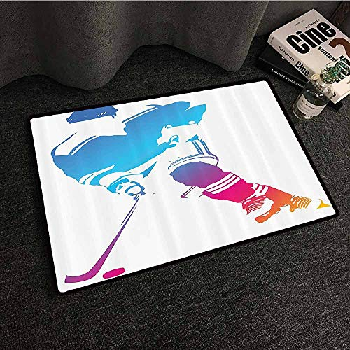 (Sports Decor Collection Non-Slip Door mat Colorful Man Figure Silhouette of a Hockey Player Athlete Racing Team Design Country Home Decor W24 xL35 Blue Magenta Orange)