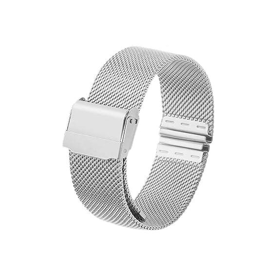 12mm 14mm 16mm 20mm Correa de Reloj Banda de Reloj de Pulsera de Acero Inoxidable de Malla magnética de Acero Inoxidable Reloj de liberación rápida ...