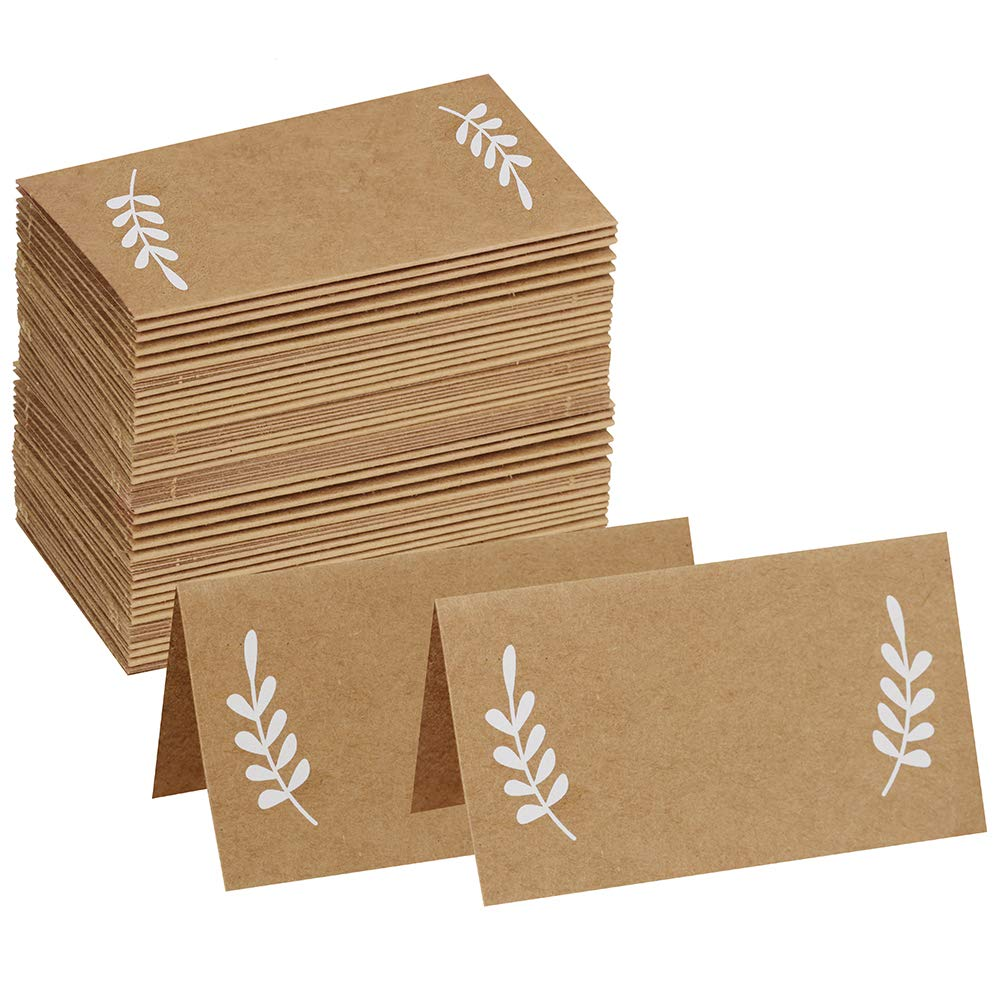 Supla 50 Pcs Kraft Paper Place Cards White Laurel Leaves Christmas Rustic Wedding Table Name Number Blank Table Tent Cards Table Name Tags Table Card Seating Cards Buffet Table Cards SuplaParty