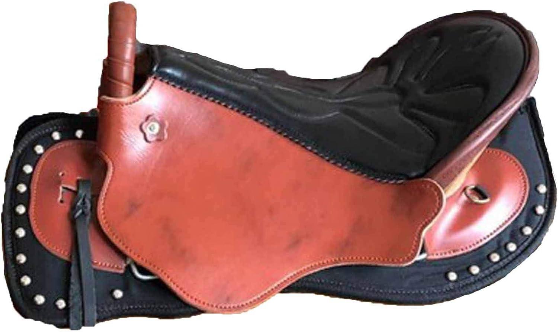 TNNT Montura de caballo sin árboles, silla de montar de caballo de resistencia sillín ecuestre suministros occidental silla desnuda silla de montar híbrido de saltar paseo de carreras cómodo