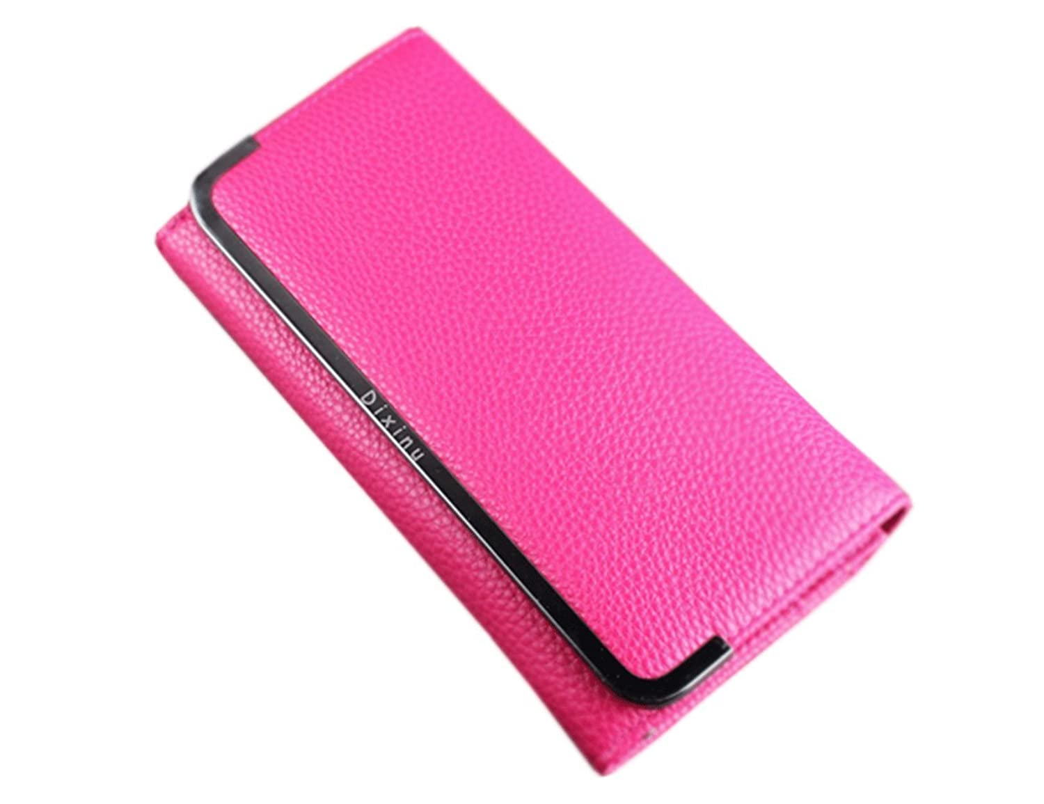 Unomatch Women's Texture Surface Hand Clutch Wallet With Metal Frame Rose Red