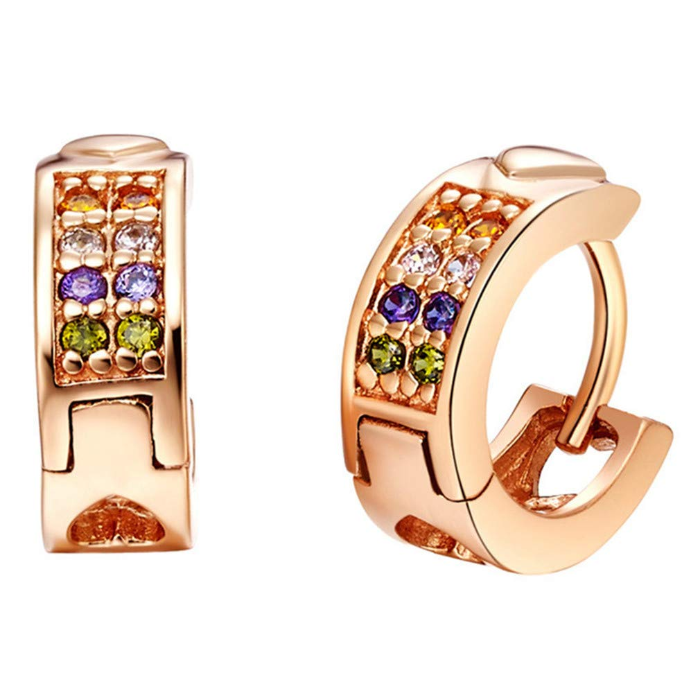 Fashion Multicolour Rose Gold Color Clasp Earrings For Women New Year Gifts Zircon Crystal Dangler