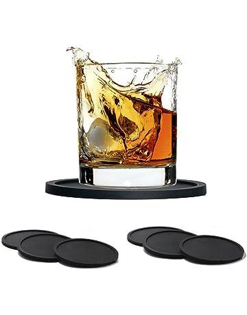 Silicona Antideslizante Posavasos, GKONGU 6 Piezas Tacto Suave de Goma Posavasos Bebida Copa Mat Lavable