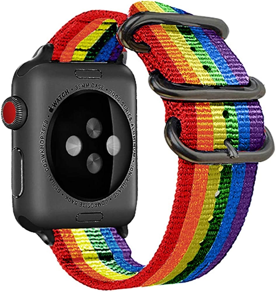 38mm 40mm Rainbow Compatible Apple Watch Band Nylon Colorful Lgbt Black Nato Buckle iWatch Band Series 4 Series 3 Series 2 Series 1 Women Men