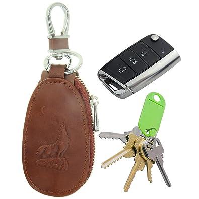 Amazon.com: piel auténtica cierre llavero llave de coche ...