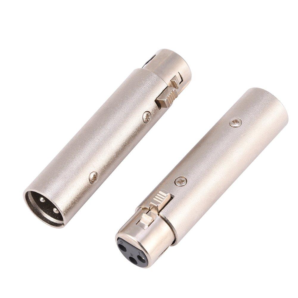 Zerone 2Pcs Connettore XLR Maschio-Femmina a 3 Pin Connettore Microfono Audio Amplificatore Microfono Connettore Accoppiatore di Genere