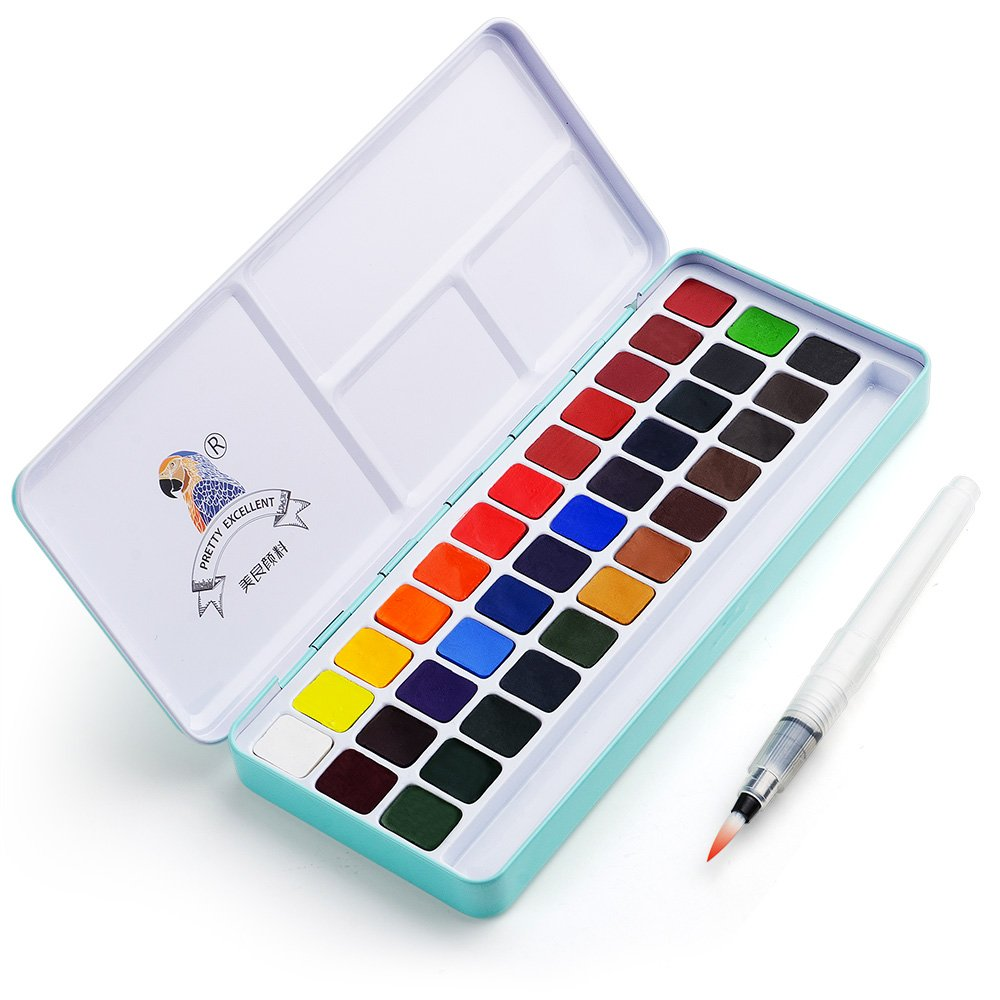 MeiLiang Watercolor Paint Set, 36 Vivid Colors in Pocket Box with Metal Ring and Bonus Watercolor Brush, Perfect for Students, Kids, Beginners & More by Lightwish
