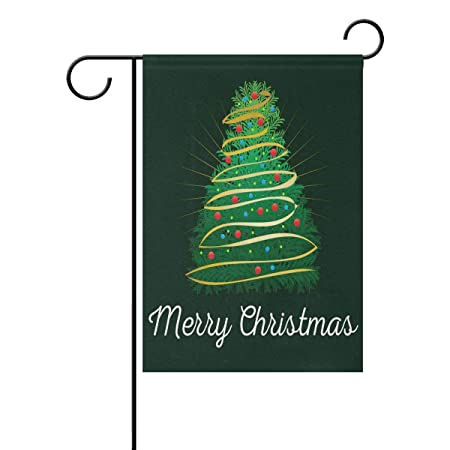 Double Sided Playful Merry Christmas With Detailed Tree On Dark Background Polyester Long Garden Flag Banner 12 X 18 Inches House Yard Flag For Home Outdoor Holiday Party Decor Amazon In Garden
