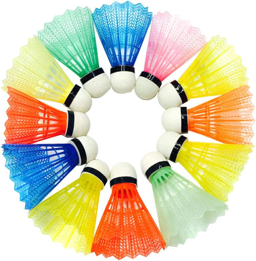 Assorted Color BESPORTBLE 24Pcs Plastic Shuttlecocks Feather Badminton High Speed Badminton Birdies Ballsfor Indoor Outdoor Sports