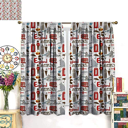 LondonSolid Rod Pocket short Blackout DrapesFun Colorful Sketch Royal Guard Map Rain Famous Country Landmarks and StonehengeThermal Insulated Grommet Blackout Curtains for Bedroom Multicolor. W72