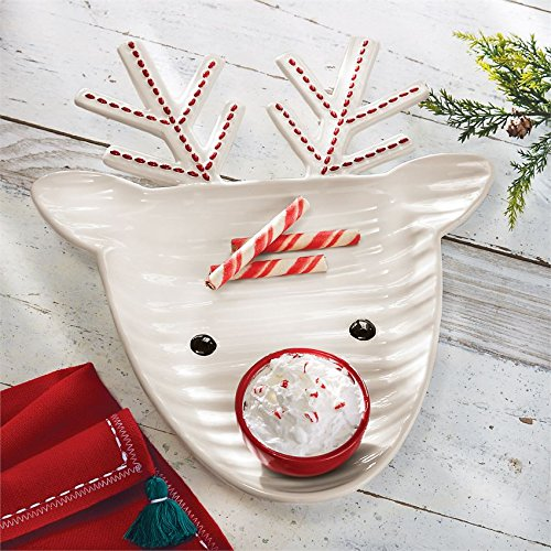 Mud Pie 4185017 Reindeer Christmas Chip and Dip Set One Size White