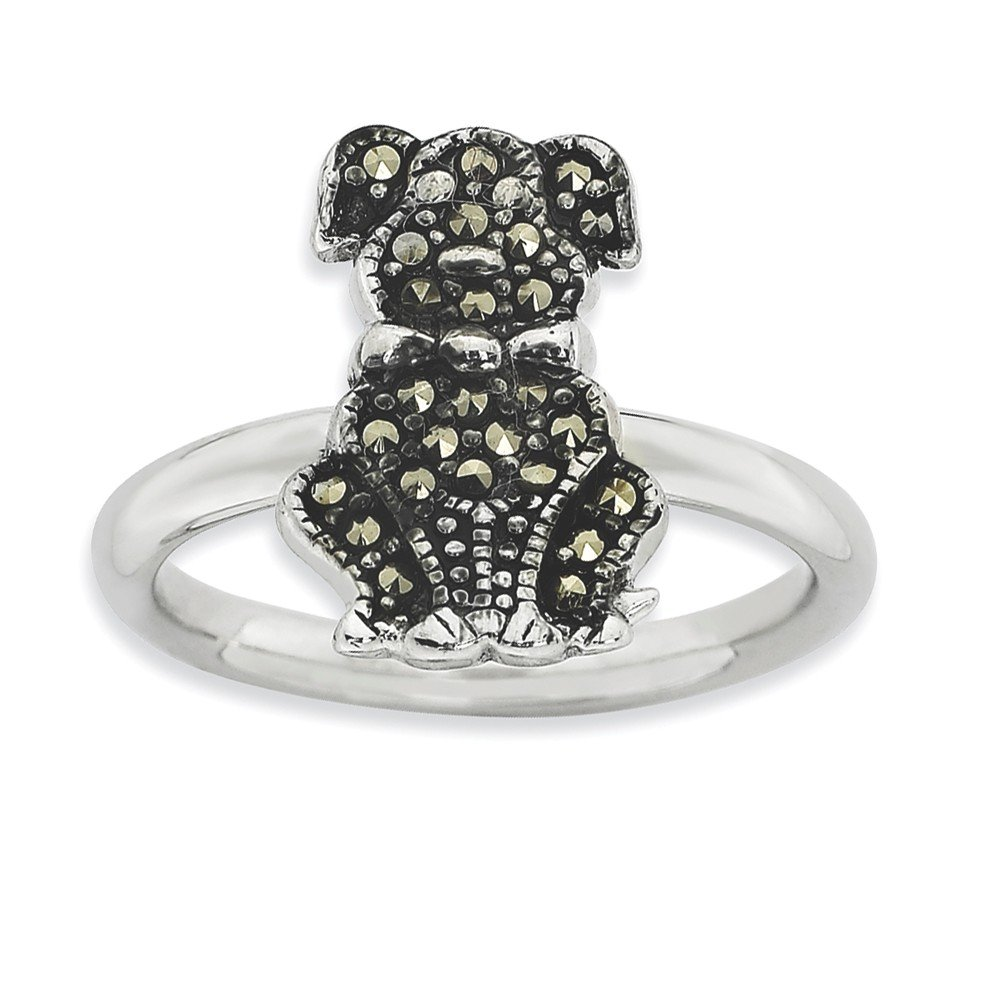 Top 10 Jewelry Gift Sterling Silver Stackable Expressions Marcasite Dog Ring