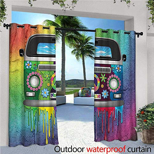Groovy Balcony Curtains Old Style Hippie Van with Dripping Rainbow Paint Mid 60s Youth Revolution Movement Theme Outdoor Patio Curtains Waterproof with Grommets W72 x L108 Multi (Revolution Bohemian)