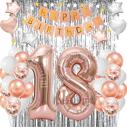 Cheap Birthday Decorations Ideas (Rose Gold 18th Birthday Decorations-18 Party Supplies 18th Birthday Gifts for Girls)