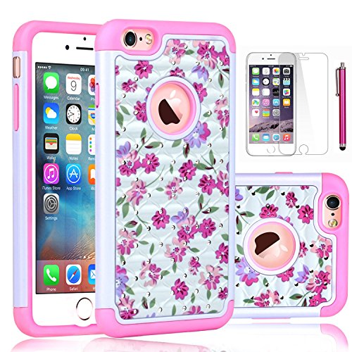 Pink White Rhinestone (iPhone 6S Case,EC™ [Shockproof] Apple iPhone 6S Case, Heavy Duty Dual Layer Hybrid Stud Rhinestone Bling Protection Cover Case for Apple iPhone 6S / 6 (Floral-White/Pink))