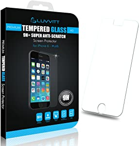 LUVVITT iPhone 6 Plus Tempered Glass Screen Protector for iPhone 6 Plus and 6s Plus 5.5 inch - Crystal Clear