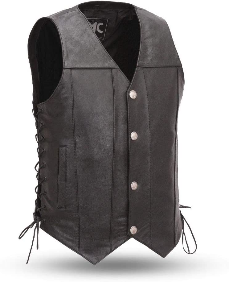 First Mfg Co FMM612BSF5X-4X Black 4X-Large Mens Leather Western Vest