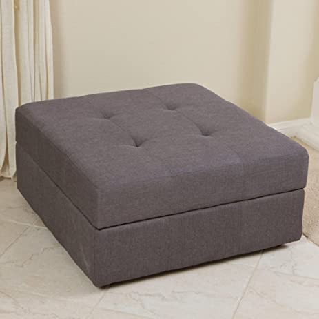 Best Selling Cedar Fabric Storage Ottoman, Brown/Grey