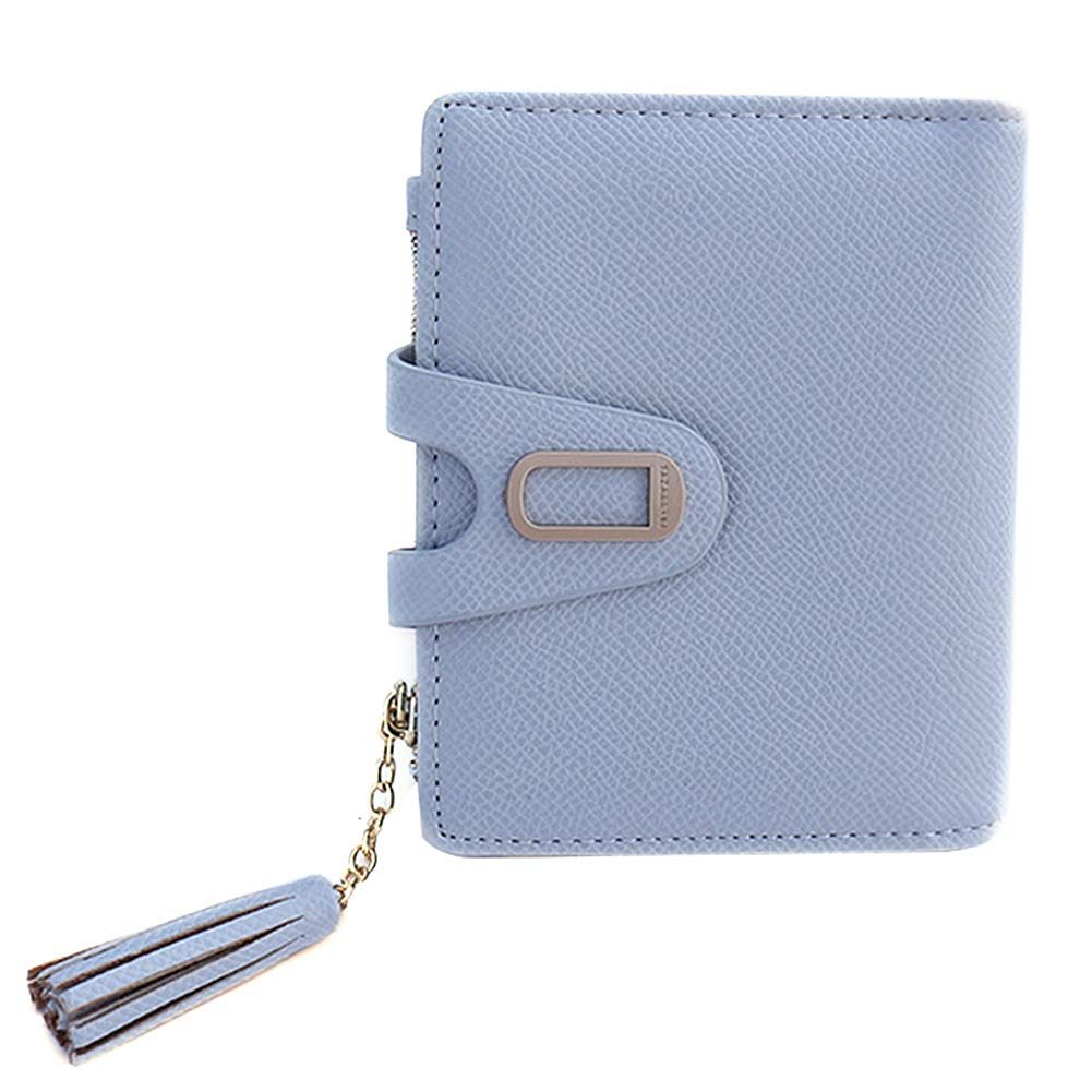 bluee Small Wallets for Women Slim Cute Leather Bifold Card Holder Coin Purse Tassel