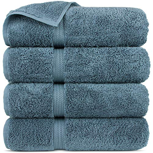 Premium Turkish Cotton 4-Striped Border Eco-Friendly and Long Stable Bath Towel (True Blue, Set of 4) (Linens Walmart Bath)