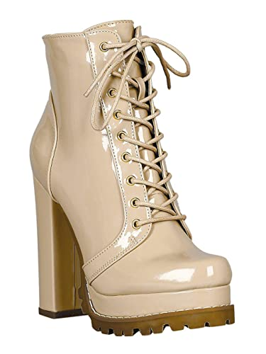 2dd0fed56a1 Women Patent Lug Sole Lace Up Chunky Heeled Platform Ankle Boots RC56 -  Nude Patent (