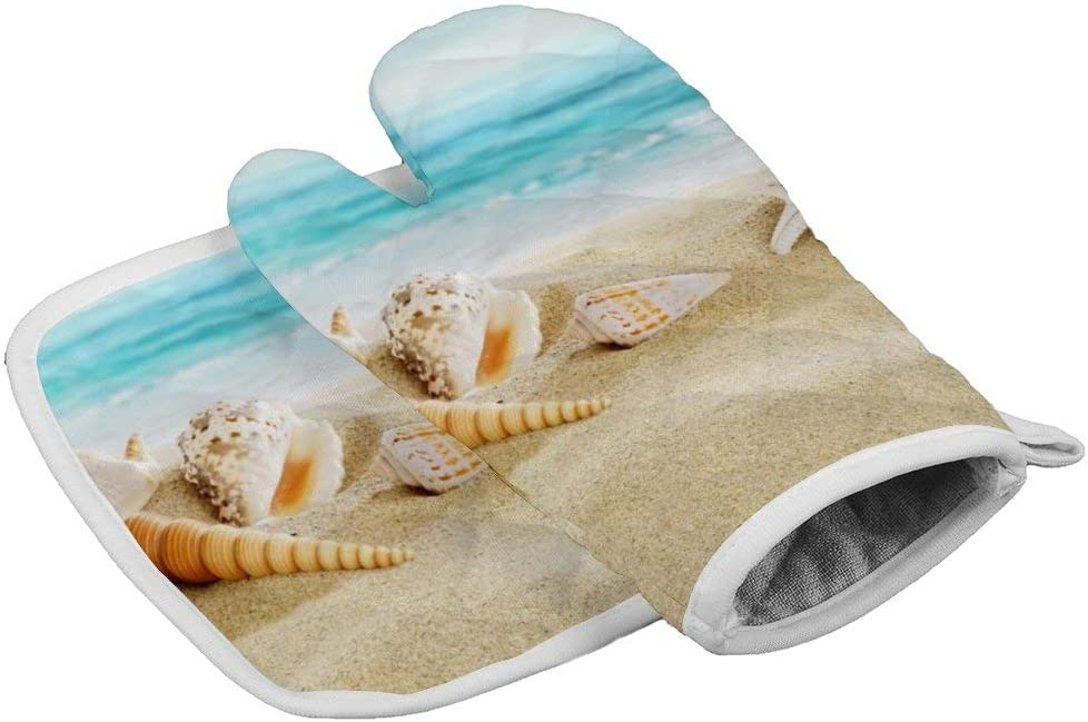 Sandy Beach Seashell Starfish Summer Ocean Landscape - Professional Kitchen Cooking Oven Mitts, Quilted Cotton Lining Water Proof Surface Heat Resistant BBQ Gloves,More Flexibility and Non-Slip