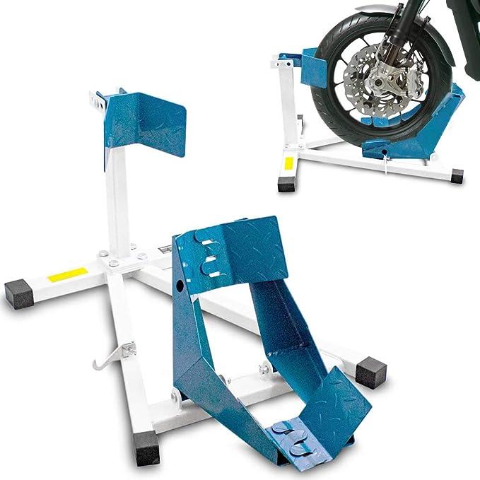 Bituxx Motorrad Montageständer Motorradwippe Vorn Motorradständer Wippe Transportständer Vorderrad Weiß Blau Auto
