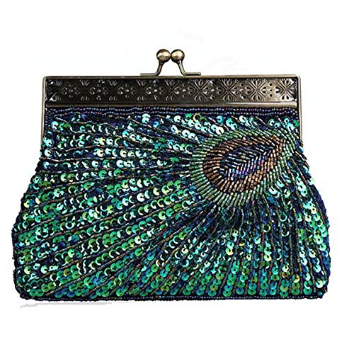 Women Glitter Bags Blue Vintage Bag Bridal Clutch Fashion Wedding Bag for Pearl HONGCI Party for Evening Bag Beaded Beaded Peacock Sequin Clutch B8n81qda