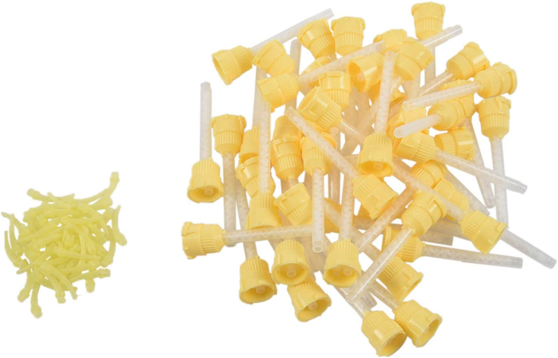 BKAUK 50 Punta Dental Temporary 1: 1 Caucho de silicona, 50 puntas amarillas + cabeza de inyección