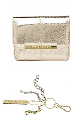 2f3b2abebf7 Image Unavailable. Image not available for. Color  Steve Madden Gold  Metallic Accordion French Wallet + Key Ring Clip