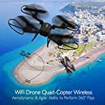 SereneLife SLRD18 WiFi FPV Foldable Drone with HD Camera and Live Video. Headless Mode Quadcopter, Altitude Hold, 1-Key Takeoff/Landing, Custom Route Mode, 13 Min Long Flight Time