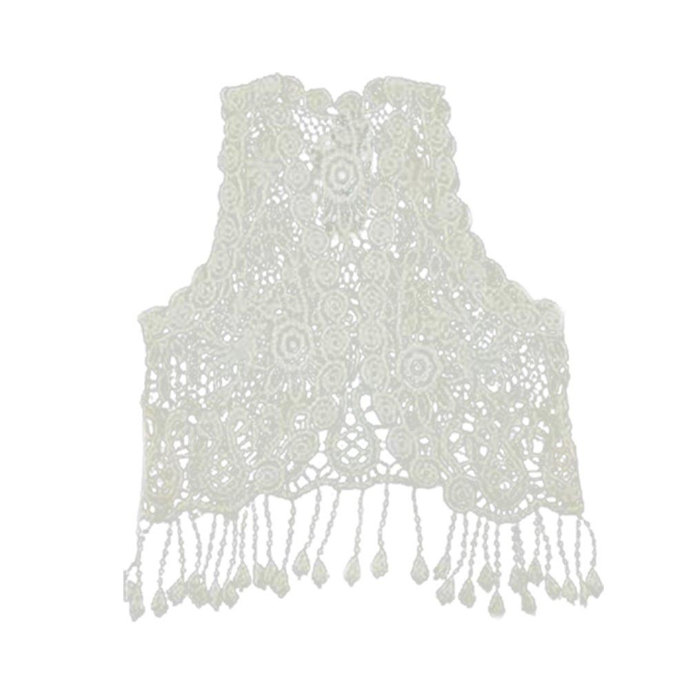 Kid Baby Girls Sleeveless Lace Crochet Hollow Top T-shirt Tassel Fringe Vest NN-0727-003