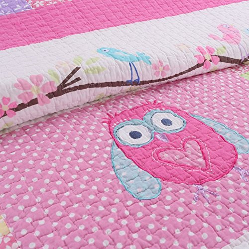 Cozy sections Pink Owl 2 Pcs Quilt Quilts Sets