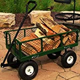 Sunnydaze Green Heavy-Duty Steel Log Cart, 34 Inches Long x 18 Inches Wide, 400 Pound Weight Capacity