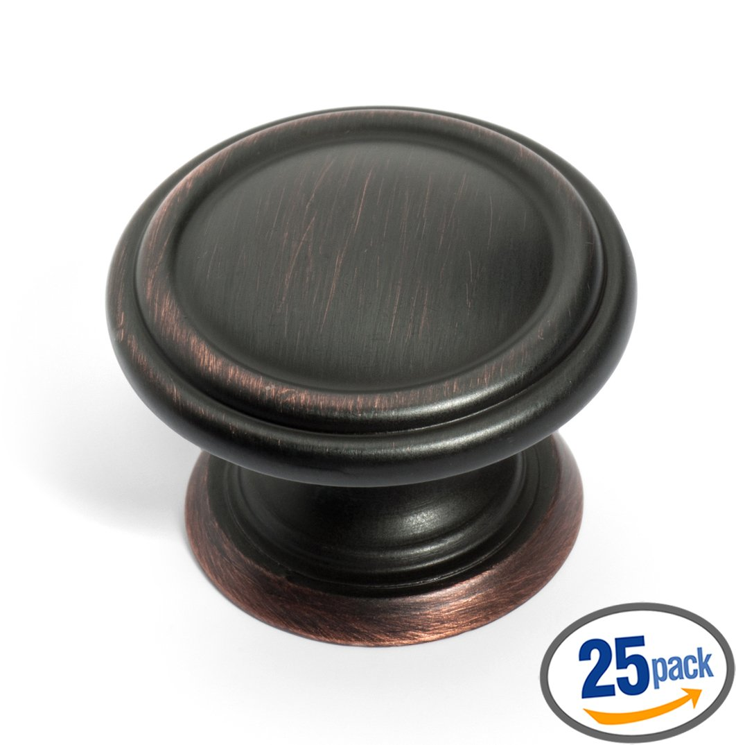 Dynasty Hardware K-8038-S-12P Two Ring Cabinet Hardware Knob, Venetian Bronze, 25 Pack