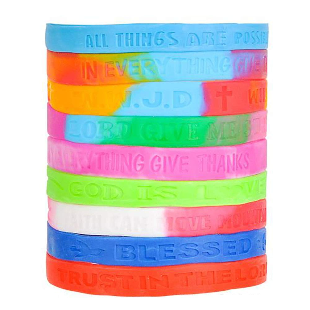 Worship Concerts KCO Brands Community Outreach Giveaways Assorted Religious Saying Bracelets Gift for Yourself 100 Pieces Souvenir Shop Item Game Prizes Fundraising Campaign Best Friends Forever